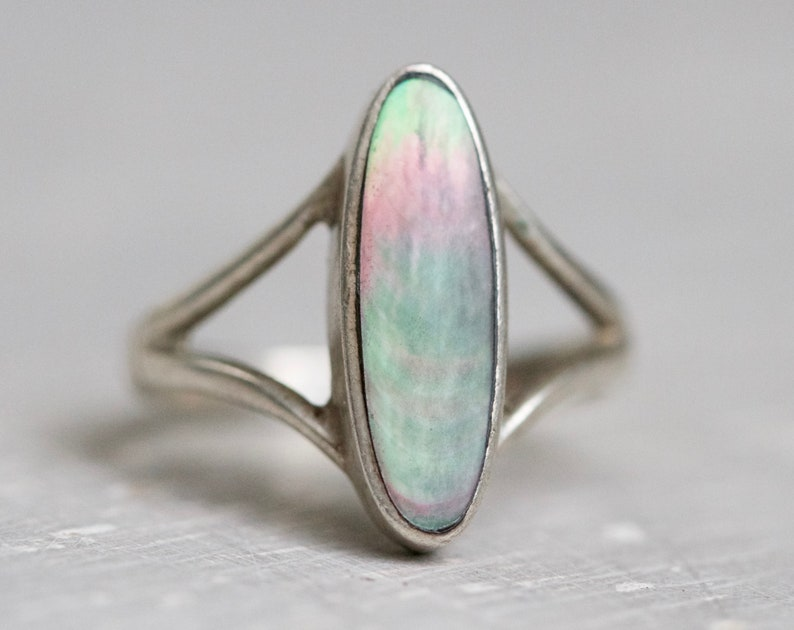 Long Index Finger Marquise Ring Size 5 12 Sterling Silver and Abalone shell Paua Seashell Ring Vintage Hippie Jewelry