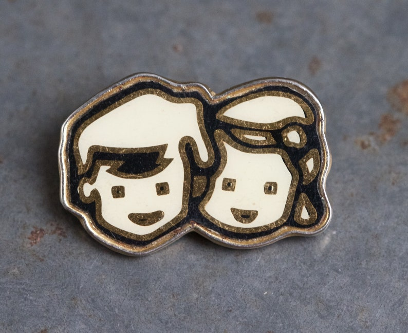 Boy and Girl Twins Badge - Cute Brooch Lapel Pin - Toye Kenning and Spencer