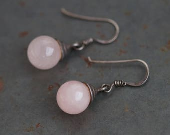 Pink Agate Earrings - Sterling Silver Boho Dangle and Drop Earrings - Pink Teardrops - Vintage Oxidized Jewelry