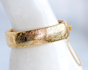 Hinged Cuff Bracelet - Sterling Silver and 9ct Gold Plated Elegant Bracelet - Made in Italy