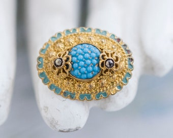 Victorian Small Brooch - Antique Oval Brass and Sky blue Glass Pin