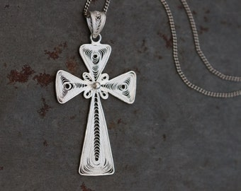 Filigree Cross Necklace - Sterling Silver Crucifix Pendant and Chain - Vintage Religious Jewelry