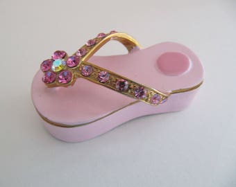 b64662b924401d Pink Enamel flipflop trinket box