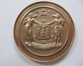 Jahrgang Bronzemedaille Medaillon 1979, Wettbewerb Preis Medaillen, Schmuck Komponente für Sammler, schöne große Medaillon geprägt design
