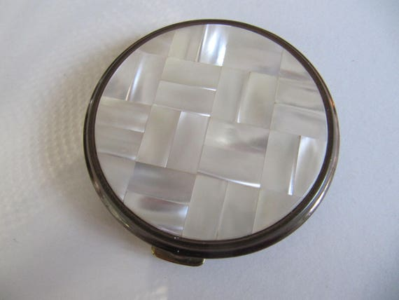 French Powder Compact Mother Of Pearl And Brass Circa