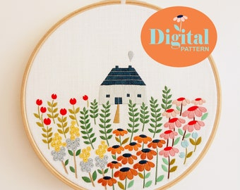 Digital Embroidery Pattern with Complete Guidelines. Little Garden. Intermediate level.