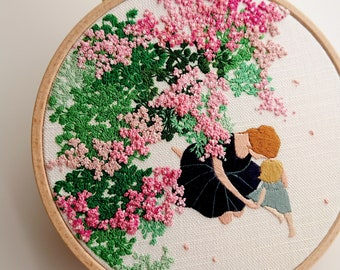 """Pre-printed embroidery fabric with PDF Tutorial (Vorbedruckte Stickvorlage aus Stoff). """"Mother & Child"""". Embroidery painting."""