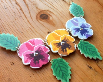 Spring/Summer Pansy Rainbow Statement Flower Necklace