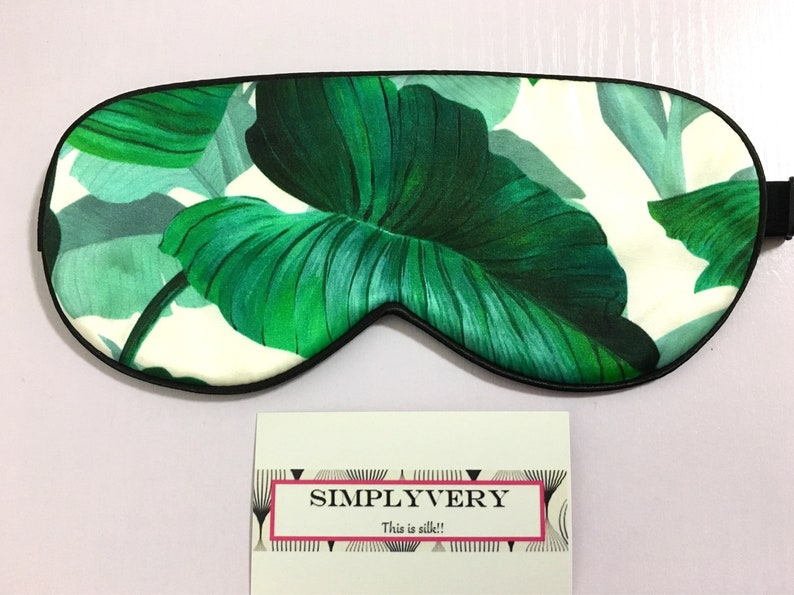 Tropical Leaves Silk Eye Mask Travel Eye Mask