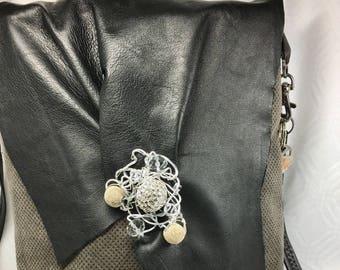 Taupe-Gray Corduroy & Black Lambskin Leather Bag