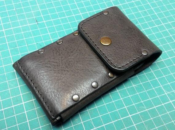 Handmade sleeve vintage dark brown genuine leather to fit iPhone 7 PLUS  with Lifeproof case on it ,pocket card,ID free initials,belt loop