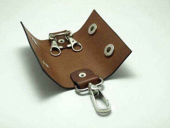 Housse de porte clefs de porte-clé fait main en cuir pour les clés avec 2  ... d8f277205ff