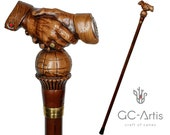 Friendship Handshake Wooden Walking Stick Cane - Unique Designer art Wood Carved Crafted Walking Cane Handle Woodcarving gift for man woman