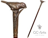 Sparrow Walking Cane Solid Bronze wood walking stick wooden shaft metal handle stylish elegant ladies women best gift for her collectible
