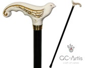 White Swallow Bird Walking stick cane - Elegant Wooden cane for women, lady hand carved wood crafted handle black shaft pretty ladies