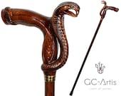 Wooden Cane Walking Stick Cobra Snake - Wood Carved Walking Cane handle best gift for man woman old elderly people her him Designer Art