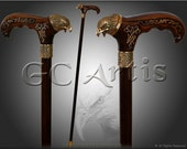 American EAGLE wood Bronze Walking Cane - Walking Stick hand casted handle wooden carved shaft Walking Stick Cane for man woman gentleman