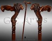 Wooden Walking Stick Cane Lion Head Palm Grip Ergonomic Handle - Animal Wood Carved Walking Cane present him her men women old elderly