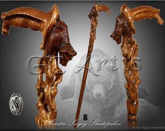 Awakening Bear Cane wood crafted hand carved Walking Stick Hiking Staff designer wooden handle walking cane stick for men women old elderly