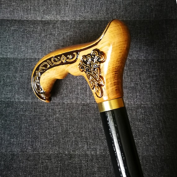Bison Buffalo Cane Walking Stick Wood Wooden Handmade Woodcarving Exclusive Rare