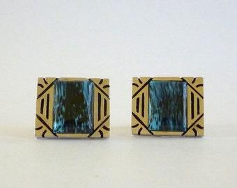 Vintage Blue Marbled Glass Stone Cufflinks