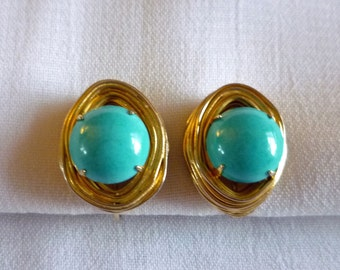 Vogue Turquoise Cabochon Earrings with Gold Tone Wire Wrap