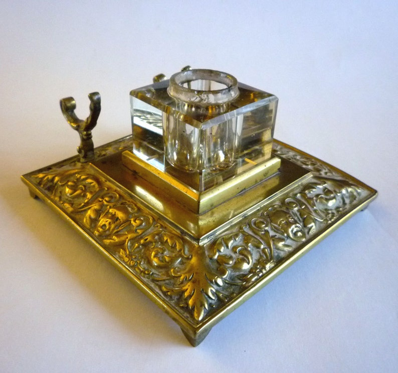 Vintage Brass Ink Well  Art Nouveau Inkwell image 0