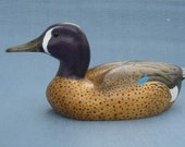 Hand carved Blue Winged Teal Drake Decoy Duck carving