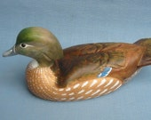 Hand carved Wood Duck hen Decoy Carving by Robert Kelly