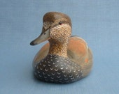 Hand carved Gadwall drake Decoy woodcarving by Robert Kelly
