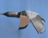 Hand carved Flying Common Loon decoy carving Robert Kelly Woodcarving