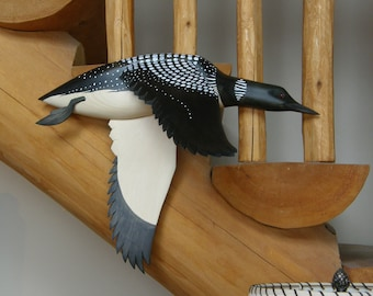 Hand carved Wallmount Common Loon decoy woodcarving