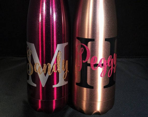 NEW Swell Colors -Big Initial and Name Swell Bottle W/ Glitter - Bridesmaids, Yoga, Teacher, Sorority Swell Bottle