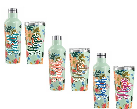 Personalized Lively Floral Tumbler / Canteen by Corkcicle / Personalized Stainless Steel Bottle / Monogrammed Triple Insulated Bottle