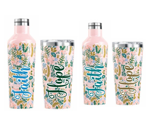 Personalized Tapestry Tumbler / Canteen by Corkcicle / Personalized Stainless Steel Bottle / Monogrammed Triple Insulated Bottle