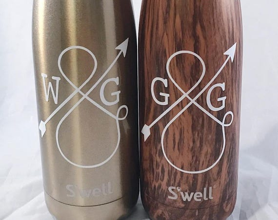 Personalized Love Ampersand Swell Bottle - Teakwood - Wedding, Christmas, Anniversary, Valentine's Day Swell Bottle