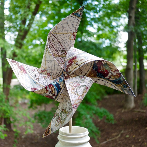 10 Custom Antique Map Pinwheels