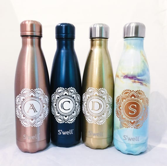 Mandala Initial Swell Bottle - Bridesmaids, Groomsmen, Teacher, Sorority, Wedding, Swell Bottle - 17 oz Swell Bottles