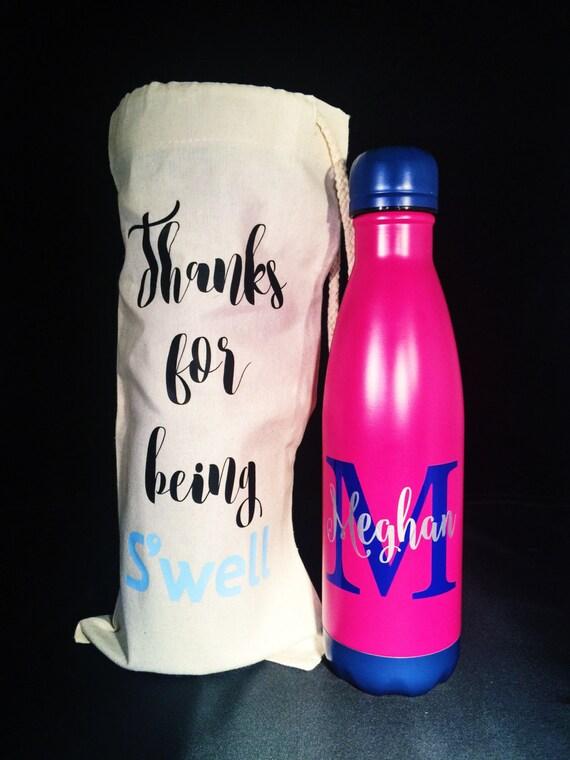 Custom Bag and Swell Bottle - Bridesmaids, Yoga, Teacher, Sorority Swell Bottle