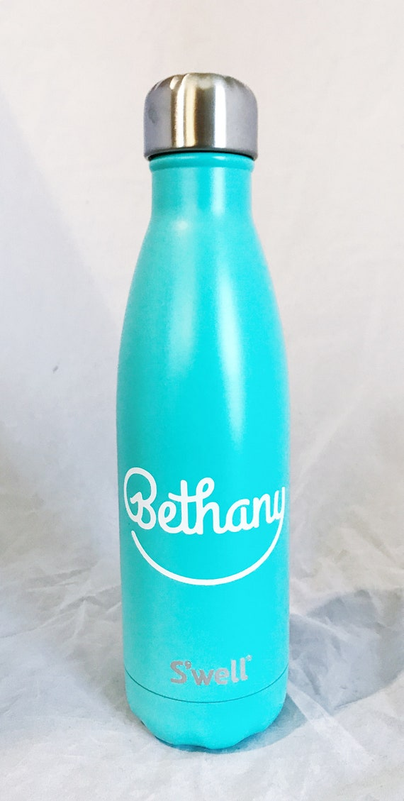 S'well Water Bottle with Name Monogram Personalized or Custom (Glitter, Shimmer, Elements, Stone, Resort, Wood, Satin,  Collections)