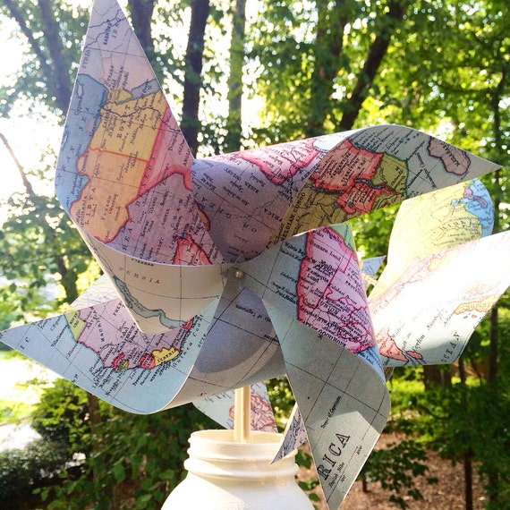 12 Custom Map Pinwheels