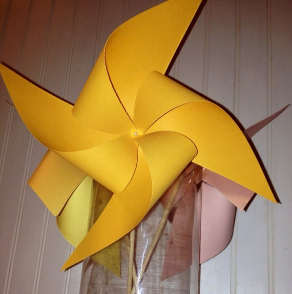 6 Custom Solid Colored Pinwheels
