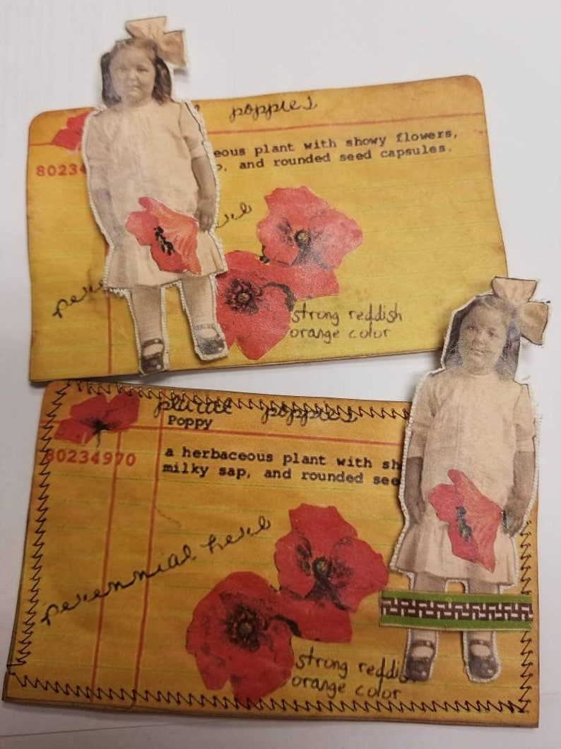 Poppy Girl Journal Card without sewing, Journal Pocket, Gift Card
