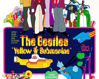 """The Beatles - Yellow Submarine - Home Theater Decor -  Movie Musical Poster Print  - 13""""x19"""" or 24""""x36"""" - Vintage Rock and Roll Poster -"""