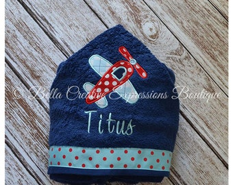 Airplane baby gift etsy airplane hooded towel baby towel beach towel baby gift baby shower gift negle Gallery