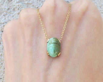 Vintage Carved Turquoise Egyptian Scarab Conversion Charm Pendant Necklace in 14k Yellow Gold