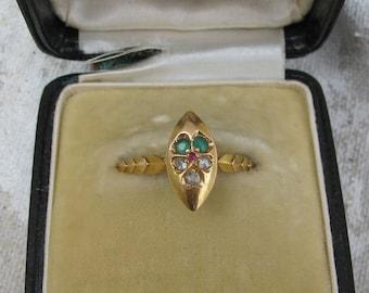 Antique 14k Yellow Gold Rose Cut Diamond Emerald Ruby Pansy Ring