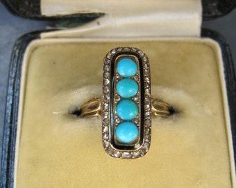 Antique 18k Gold Black Enamel Rose Cut Diamond and Four Stone Turquoise Ring
