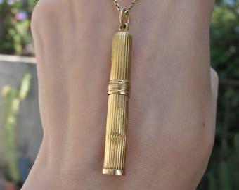 Antique 18k Yellow Gold Pencil Pendant Charm