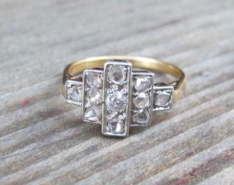 Art Deco Rose Cut Diamond Ring in Platinum and 18k Yellow Gold